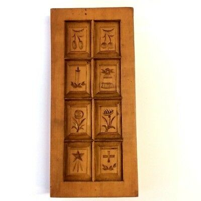 VINTAGE WOODEN GERMAN SHORTBREAD BISCUIT COOKIE BUTTER MOULD x EIGHT SHAPES