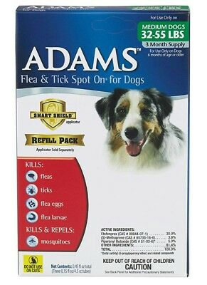 Adams Plus Flea and Tick Spot On for Dogs, Medium Dogs 32-55 lbs, 3 month supply