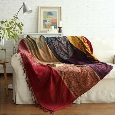 Cotton Woven Sofa Bed Throw Blanket Bedspread Settee Cover Rug BOHO
