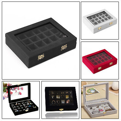 24 Grid Velvet Glass Jewellery Ring Display Case Tray Holder Earring Storage Box