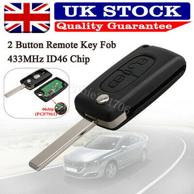 2 Button Replace Remote Key Loking Fob 433MHz ID46 Chip for Peugeot 207 307 308
