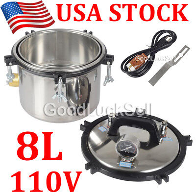 8L Autoclave Steam Sterilizer 304 Stainless Steel Pressure Dual Heating Pot 110V