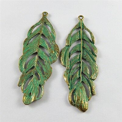 Zinc Alloy Charms Pendant Retro Bronze Hollow Tree Leaf Shape Crafts Jewelry 8pc