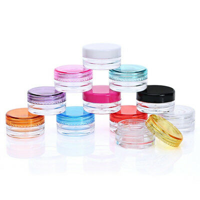 50X Small Clear Plastic Sample Empty Container Bottle Pot Jars Cosmetic Tool 3ml