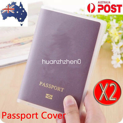 2x Passport Cover Clear Plastic Waterproof Driving Licence ID Holder Pouch
