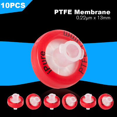 10pcs Hydrophilic PTFE Membrane Filter 0.22μm Syringe Filtration 13MM NonSterile