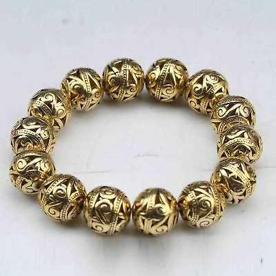 Delicate Chinese Brass Gold-plated Handwork Carved Hollow ball Bracelet