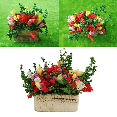 1P Miniature Multicolor Flower Bush With Wood Home Table Decorations DIY