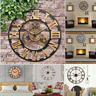 3D Vintage Rustic Wooden Handmade Wall Clock Antique Retro Home Office Decor SS