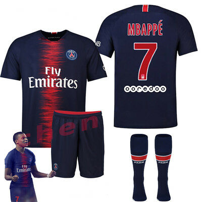 4e2c1911185 18 19 FOOTBALL PSG MBAPPE NO 7 Short Sleeve Shirt for 3-14y Kids Kit ...