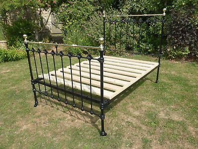 Victorian Cast Iron + Brass Bed. Beautifully Restored Double Size.