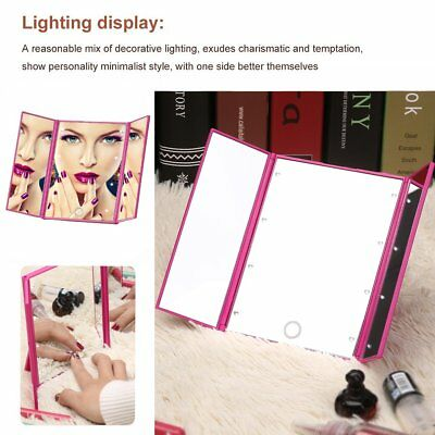 Tri-Fold Light 8 LED Touch Screen Makeup Mirror Tabletop Lighted Cosmetic Vanity