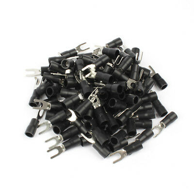 50PCS SV3.5-4 Black Insulated Spade Fork Wire Connector Electrical Wiring Crimp