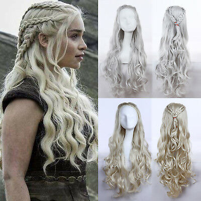 Game of Thrones Daenerys Targaryen Dragon Princess Cosplay Wigs Hairpiece Gift