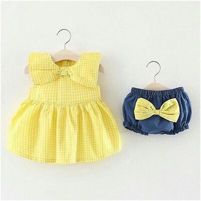 AU STOCK Newborn Infant Baby Girls Romper Clothes Bowknot Top Short Outfits Set