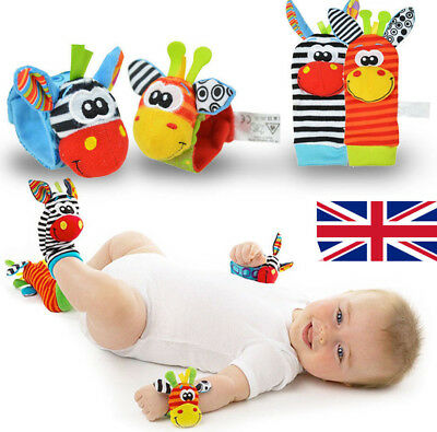 New Born Baby Socks Wrist Bands Rattle SOUNDS Rattling Sensory Toys Infant Child