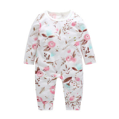 Baby Girls Floral Print Long Sleeve Cotton Autumn Romper Jumpsuit Clothes Nice