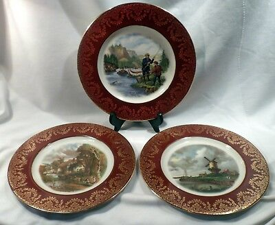 "Set 3 Cabinet Plates with Landscapes, Maroon Band, 10 1/2"" Diameter"