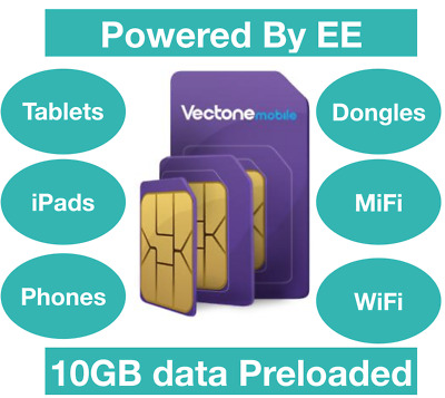 Vectone Powered by EE Data Sim card, Preloaded with 20GB Data for Unlock DEVICES