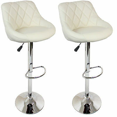 Set 2 Chairs From Bar Padded Stool From Counter Height Adjustable Beige New