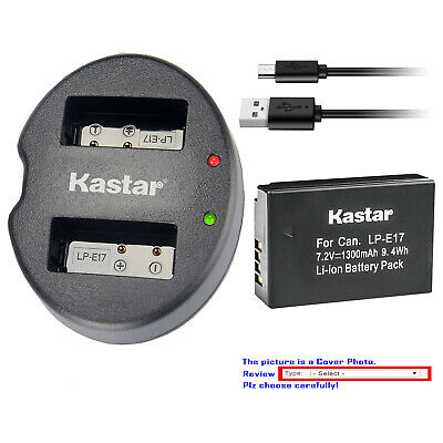 Kastar Battery Dual USB Charger for Canon LP-E17 LC-E17 Canon EOS 8000D Camera