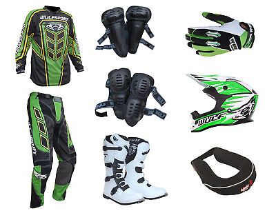 Adult MX Wulfsport 2019 AXIUM Motocross Clothing Armour Green Set #AW26