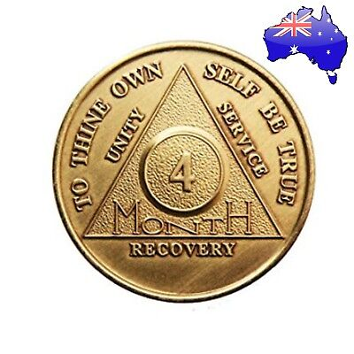 AA alcoholics anonymous bronze 4 Month recovery sobriety coin token medallion
