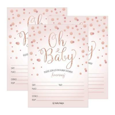 25 Blush Rose Gold Girl Oh Baby Shower Invitations, Cute Princess Printed Fill