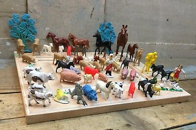 Lot Of 64 Vintage Plastic Farm Toys Etc. Mixed Lot Hong Kong/ Hartland Plastics