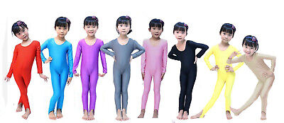 Kids Long Sleeve Dance Gymnastics Catsuit All In One Unitard Leotard Lycra