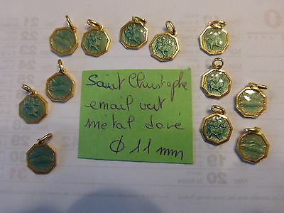 LOT de 12  MEDAILLE ancienne Saint Christophe émail VERT  enamel 2 faces metal