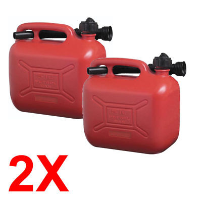 2x 5 Litre Plastic Jerry Can Fuel Unleaded RED Pouring Spout Petrol Container 5L