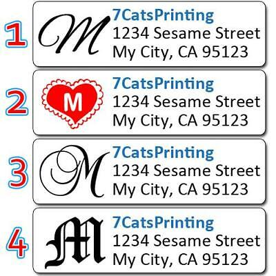 "80 Personalized Monogram Return Address Labels Custom 1/2x1.75"" Buy 3 Get 1 Free"