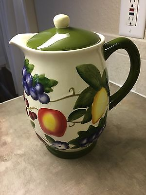 Nonni's Handpainted Cookie Jar.  Pitcher Design.  Approximately 10 Inches Tall.