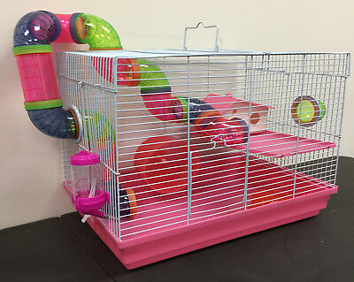 Pink 2 Level Syrian Hamster Rodent Gerbil Mouse Mice Critter Trail Habitat Cage