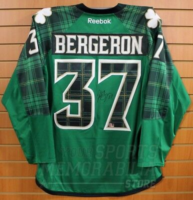 new style 4546a d5929 PATRICE BERGERON BOSTON Bruins Signed Autographed 2016 St. Patrick's Day  Jersey
