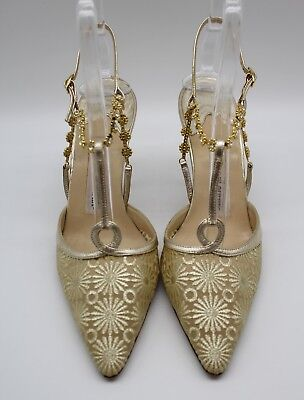 4001b23cfc Manolo Blahnik Gold-Tone Embroidered Pointed Toe CZ Crystal Heels Size 8