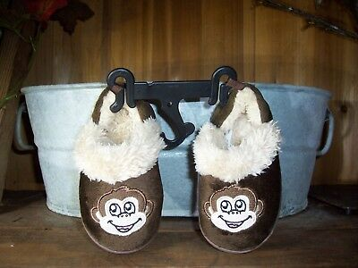 ee0d7b54a987 Baby Toddler Boys Monkey Slippers Shoes Size Sm 5-6 Brown Rubber Soles Fur  New