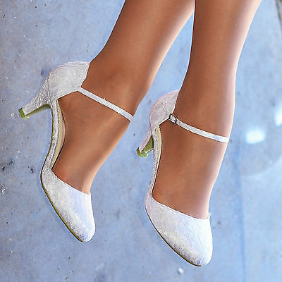 Ladies White Ivory Lace Embellished Low Heel Ankle Strap Wedding Shoes Size 8-6