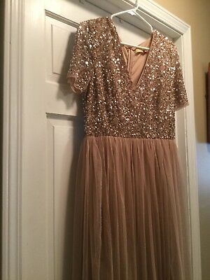 Bridesmaid Gown Beautiful Blush with Sequins and Tulle Sz 12