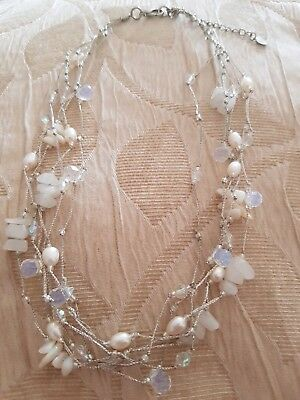 Moonstone pearl rose quartz Briolette Necklace choker tiered wedding ball