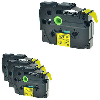 """4PK TZ-641 TZe-641 Black on Yellow Label Tape For Brother P-touch PT-9200PC 3/4"""""""