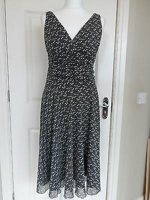 Black & White Chiffon Full Skirt 50's Style Dress Size 10
