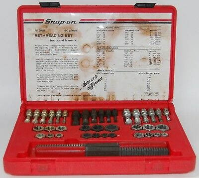 Snap-on RTD40 40 Piece Fractional & Metric Rethreading Set With Case Made In USA