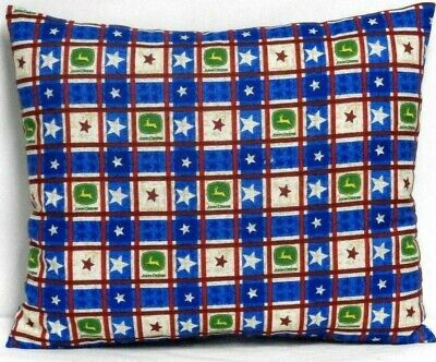 John Deere Tractors Toddler Pillow on Blue 100%Cotton JD9-4 New Handmade