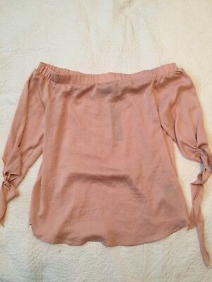 589c8c3597f7c9 Apt 9 Womens Blush Pink Boatneck Off Shoulder 3/4 Sleeve Blouse Size Medium