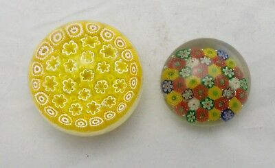 Two Millefiori Hand Blown Art Glass  Paperweights