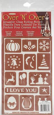 """Over 'N' Over Reusable Stencils 5""""X8""""-Holiday Assorted"""