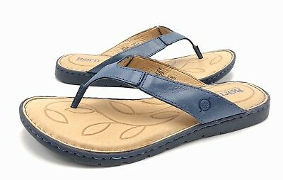 e01dd1d3ba3f Born Amelie Womens 9M Blue Leather Slip On Flat Thong Sandals Flip Flops  Shoes