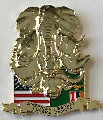 USMC MSG Marine Security Guard Detachment Lusaka, Zambia Big 5 Challenge Coin